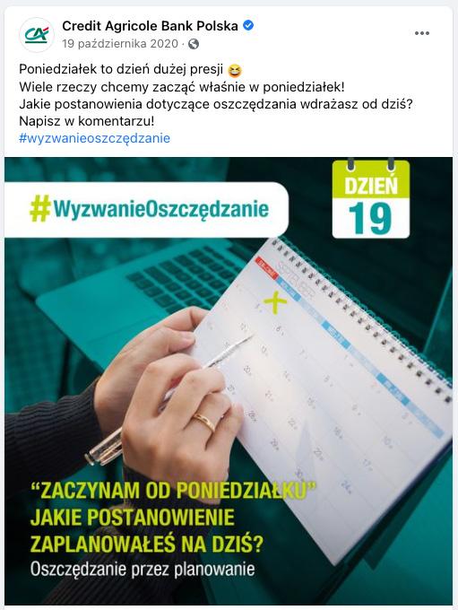 Credit Agricole Wyzwanie Oszczędzanie facebook1
